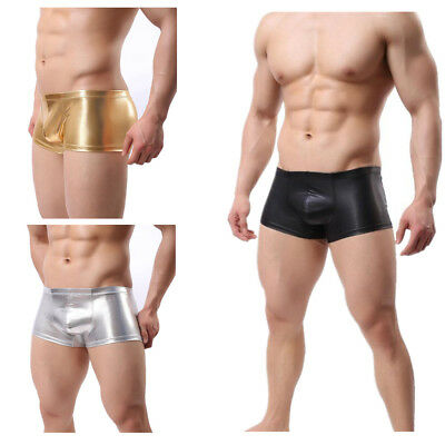 Mens Sexy PU Leather Boxers Trunks Shorts Underwear 3D U Bulge Pouch Underpants