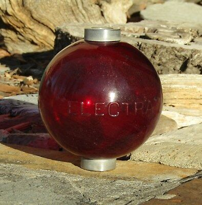 Vintage EmbossedELECTRA Round Flashed Red Glass Lightning Rod Ball - Very Nice