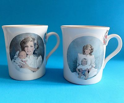 Set Of 2 Diana Princess Of Wales With Prince Harry & William Stoneware Mugs Cups