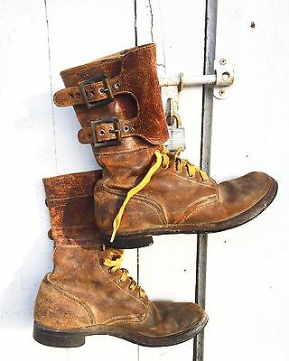 RARE Vintage WWII Brown Leather Military Combat Buckle Boots, 7.5 1940s 40s WW2