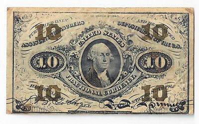 US Fractional Currency Ten Cent Note 3rd Series Fr1255 - 0991