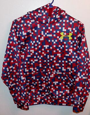 Boys Youth Under Armour Coldgear Storm Red White Blue Checkered Hoodie Sz YLG L