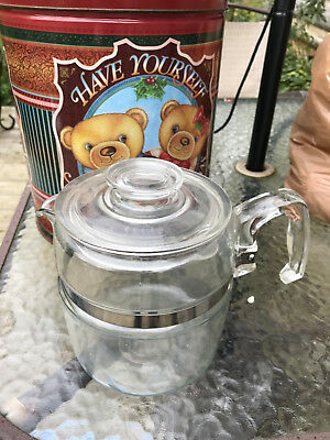 VTG Pyrex 6 cup coffee pot with lid percolator 7756 b 2-3 clear stainless band