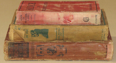 Lot of 3 Vintage Antique Library Bookshelf Decor rustic tattered age distressed