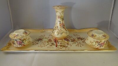 Vintage Crown Ducal Ware Blush Ivory Exotic Bird Dressing Table Tray & Set c1920