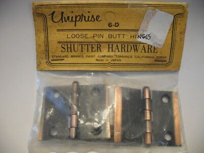 Vintage NOS Copper Flash Japanned Steel Cabinet / Shutter HINGES Butt Loose Pin