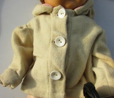 """Dy-Dee Baby Wool Flannel Coat With Hood 15"""" Dolls Large Buttons 1940's"""