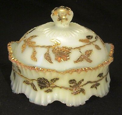 VERY SCARCE Bastow Glass Co., Trailing Vine Covered Butter Dish, c. 1900