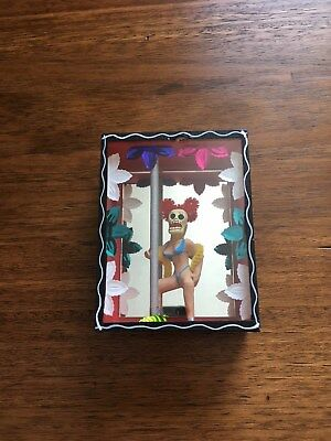 Day of the Dead, Stripper on a Pole, Handmade Mexican Folk Art shadow box.