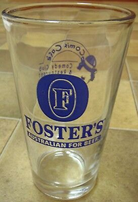 Rare FOSTER'S Australian Pint Beer Glass Advertising Comix Cafe Rochester NY