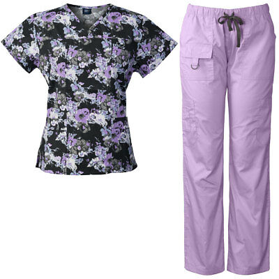 Medgear Women's Scrubs Set Multi-Pocket Top & Pants, Medical Uniform MBLK