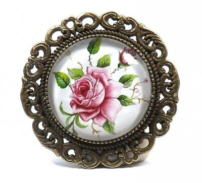 Large Antique Bronze Effect Vintage Style English Rose Cabochon Brooch