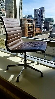 HERMAN MILLER EAMES ALUMINUM GROUP SIDE CHAIR LEATHER - retail $2000 each
