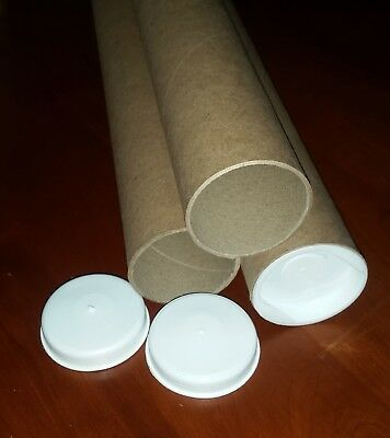"""2"""" x 26"""" (25"""" Inside) Kraft Mailing Tubes with Plastic End Caps - Case of 15"""