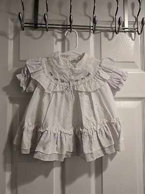 Vintage Girls Lavender White Lace Pinafore Dress size 18 months