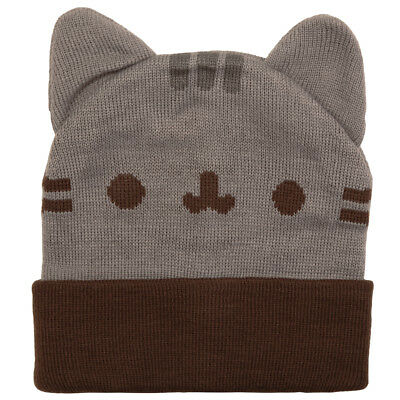 Pusheen The Cat Face Licensed Unisex Cuff Beanie Hat With Ears - One Size