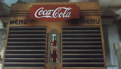 1920s Original COCA COLA COKE raised Wooden Menu Board Sign PRICE REDUCED ALOT