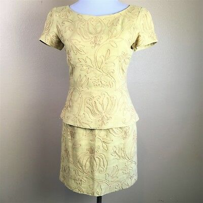 Marie St Claire 2Pc Skirt Set 100% Linen Embroidered Size 6 Dandelion Yellow