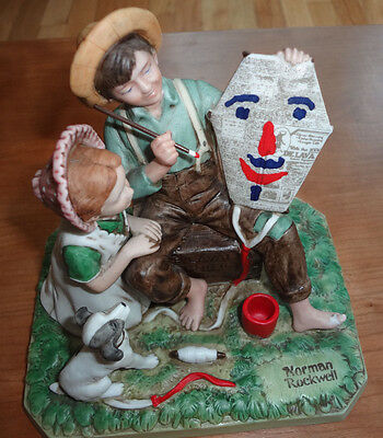 """Norman Rockwell """"The Kite Maker"""" Signed Figurine  Year 1982"""