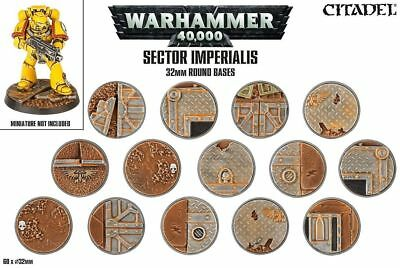 Warhammer 40K Sector Imperialis 32mm Round Bases NEW 66-91