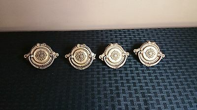 Set  of 4 Vintage Brass Drawer Handles Pulls Ornate Flowers Round Circular