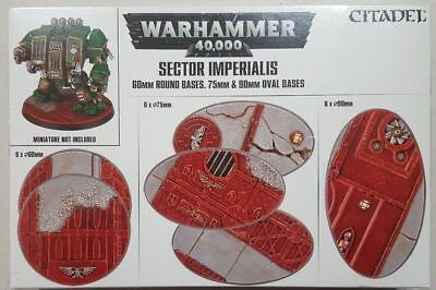 Warhammer 40k Sector Imperialis 60mm Round 75mm Oval & 90mm Oval Bases NIB