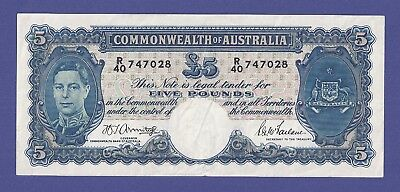 Uncirculated 5 Pounds 1941 Banknote From Australia. Super Huge Value !!!!!