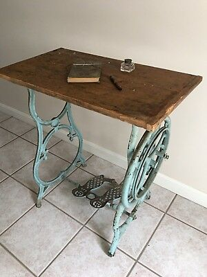 Antique Weed Treadle Sewing Machine Turquoise Cast Iron Base Table Top RARE!
