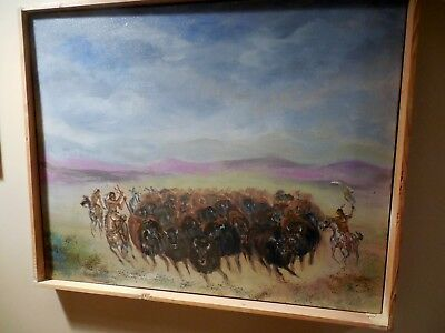"""Original OIL on canvas """"Plains Indians Hunting the Buffalo""""...16x20...framed"""