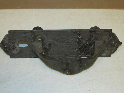 Antique Victorian Era Patterned Iron Door Handle & Matching Back Plate VGC AS IS