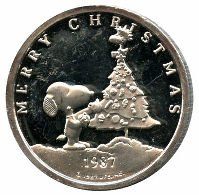 1987-1988 Charlie Brown Christmas & New Year 1 oz .999 Fine Silver Round