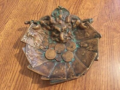 RARE Antique 19th Century Solid Bronze Brass Devil Satin Head Card Coin Tray