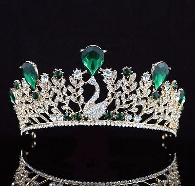 Daisy Floral Green Austrian Rhinestone Tiara Crown Bridal Pageant Prom Wed T59gn