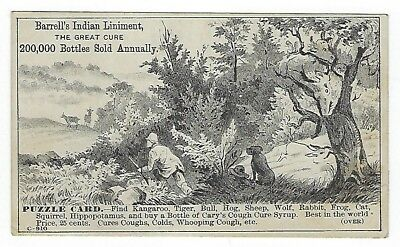 Barrell's Indian Liniment late 1800's medicine PUZZLE trade card- Zanesville, OH