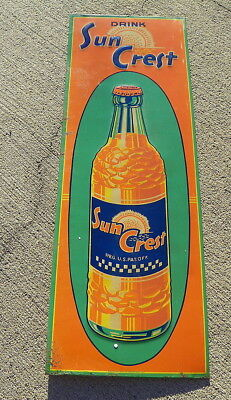 Sun Crest Soda Pop Tin Sign With  Bottle