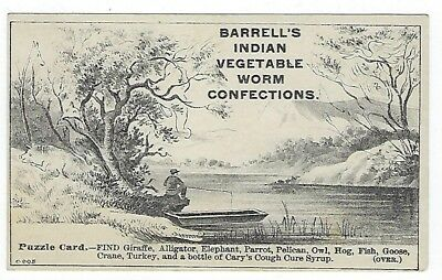 Barrell's Indian Worm Confection late 1800's medicine PUZZLE trade card #A