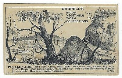 Barrell's Indian Worm Confection late 1800's medicine PUZZLE trade card #B