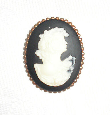 Vintage Cameo Victorian Antique Style Black with Off White Lady Oval Pin Nice!
