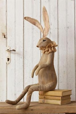 New Primitive Folk Art Antique Vintage Style Grungy Bunny Rabbit Ears Doll 30""