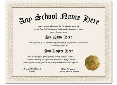 University College High School Personalized Diploma w/ Gold Seal Novelty Ivory A