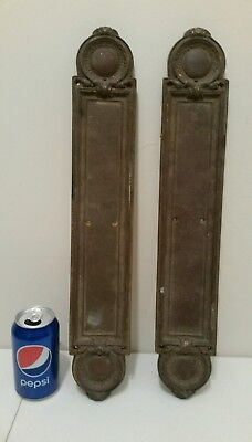 Pair Of Large Very Heavy Antique Solid Cast Bronze Door Pushes Victorian Style