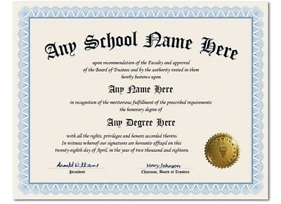University College High School Personalized Diploma w/ Gold Seal Novelty Blue A