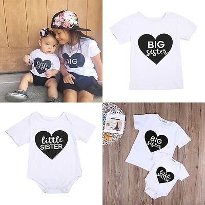 US Stock Baby Kid Girl Little Big Sister Romper Bodysuit Clothes T-shirt Top NEW