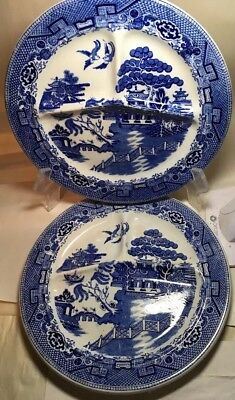 """3 Antique Blue Willow Divided 11"""" Plates Barker Bros. England"""