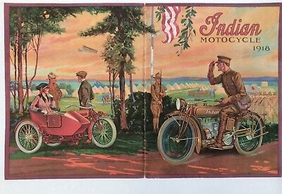 1918 Hendee Hedstrom Indian Motocycle Motorcycle Antique Powerplus Bicycle Repro