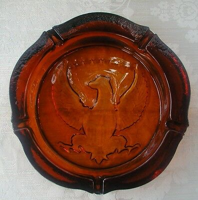 "ANTIQUE 10"" AMBER GLASS ASHTRAY 7 STARS AMERICAN EAGLE DESIGN ASH TRAY Large VTG"