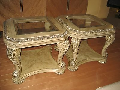 2 (Pair) Solid Oak Wood Glass Top Coffee End Occasional Tables