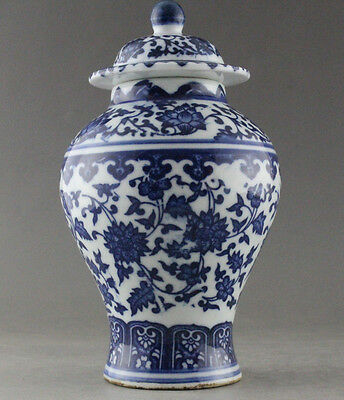 Fine China Hand Painted flower Blue and White Porcelain vase Qianlong Mark