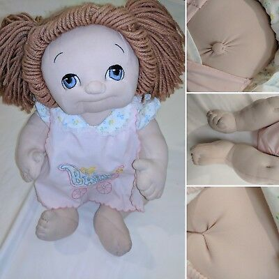 Handmade Cabbage Patch doll soft sculpture girl Brown Hair, Blue Eyes Vintage