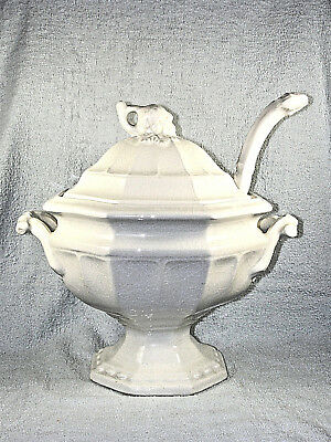 Antique White Ironstone Paneled Grape Covered Soup Tureen with Ladle